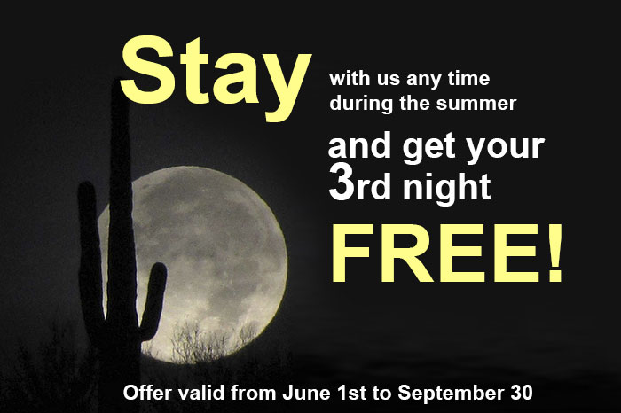Stay with us during the summer and get your 3rd night free!